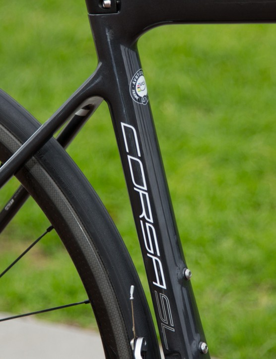 The 2015 Avanti Corsa SL features thin seatstays to help dampen the ride
