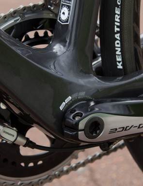 The Avanti Corsa SL has a massively wide bottom bracket and asymmetrical chain stays for ultimate cranking stiffness
