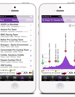 The Cyclingnews Tour Tracker app on iPhone