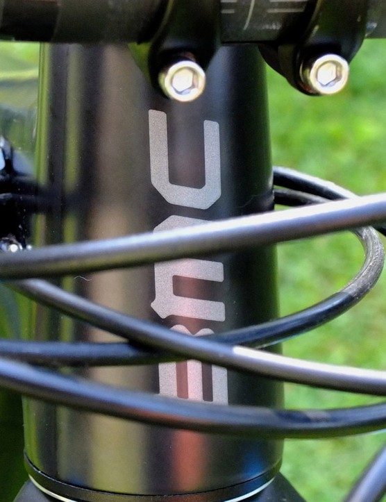 Although the head tube is swarming with hosing, the rest of the bike's lines are clean