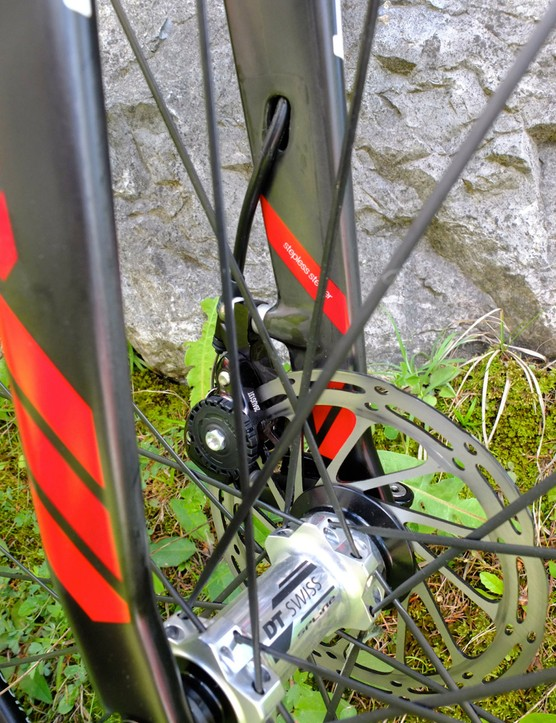 The CX01 will be sold with SRAM's Force CX1 HydroR group - but the new brakes hadn't arrived in time for BMC's launch