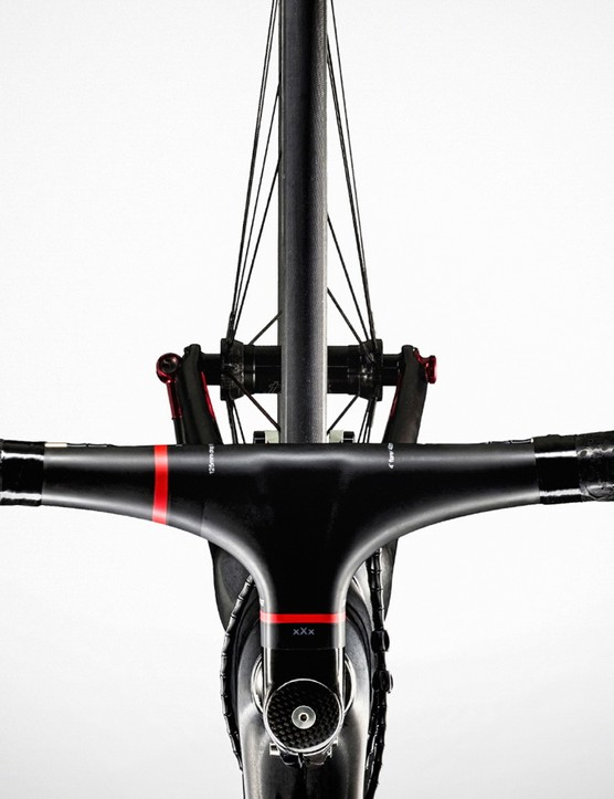 Part of how Trek achieves the hyper-low weight is integrated componentry like this Bontrager XXX bar/stem