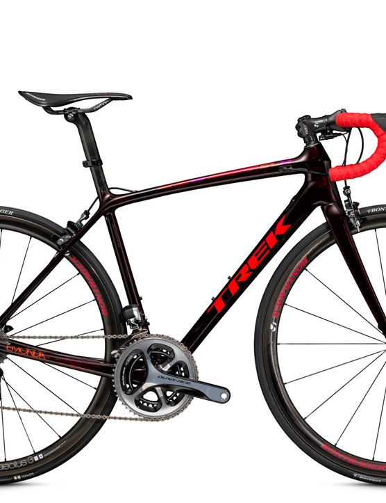 The Trek Émonda SLR 9 WSD women's bike comes with Shimano Dura-Ace and Bontrager Aeolus 3 D3 wheels