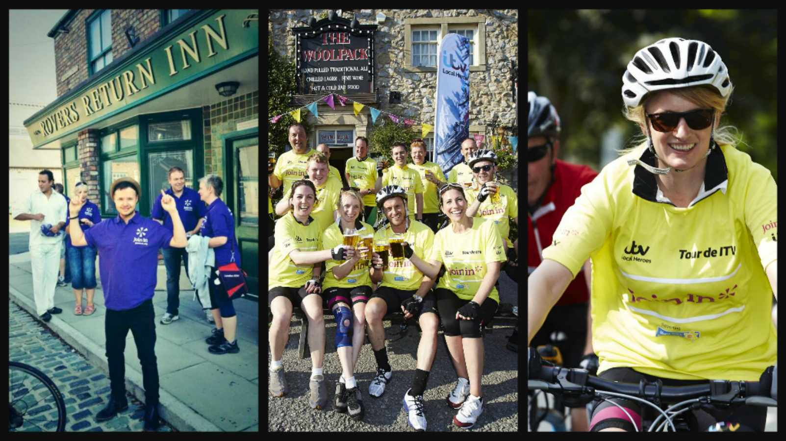 Emmerdale and Corrie soap stars joined up to ride the Tour de ITV as part of the TV channel's Local Heroes campaign
