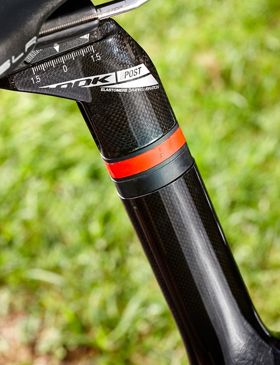 A shock-absorbing elastomer (and spacers) in the E-Post keeps things comfortable