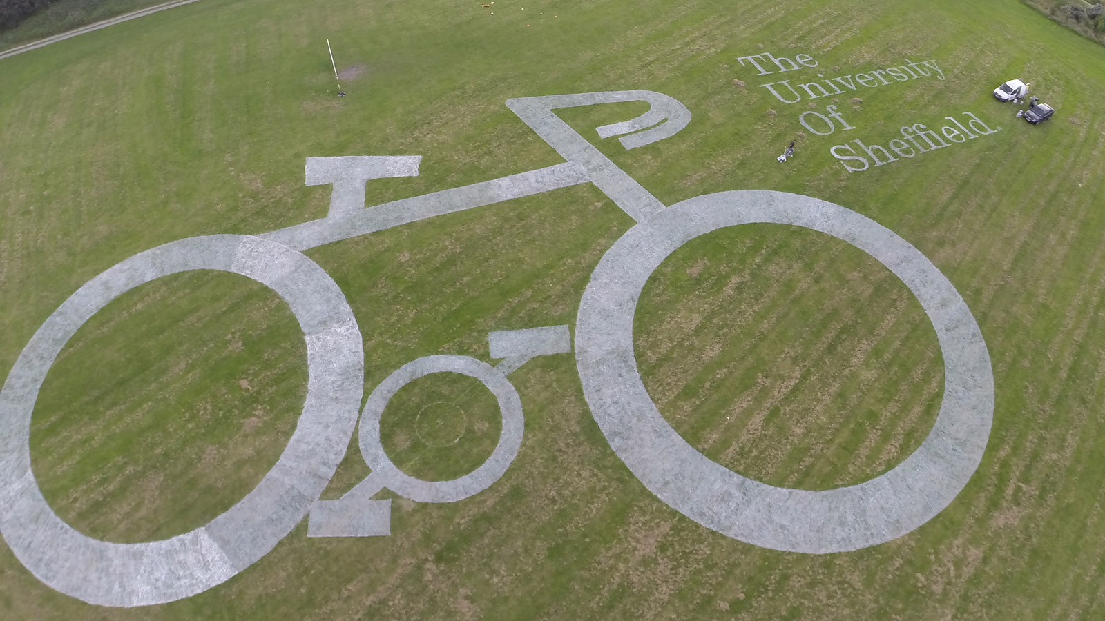 Sheffield University's huge bicycle artwork promoting the Krebs Cycle and science in sport