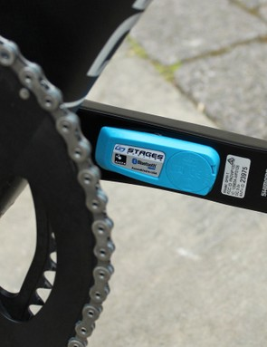he Stages power meter on the left crank measures left-leg power, and doubles the number for a wattage readout