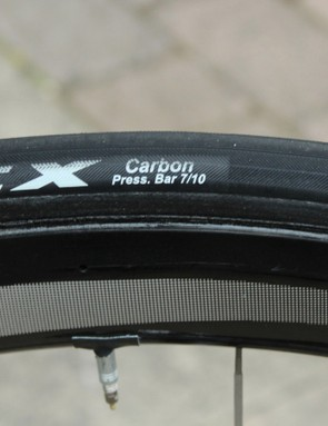Veloflex tubulars are often seen in the Tour de France, sometimes with their own brand, as here, and sometimes with another brand hot-badged on