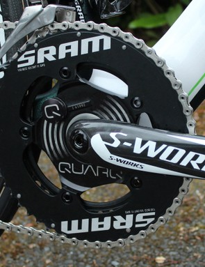 Most cranksets are from one brand, this is from three. SRAM TT rings deliver the power applied at the carbon Specialized crank, with Quarq (SRAM owned) measuring the power in the process