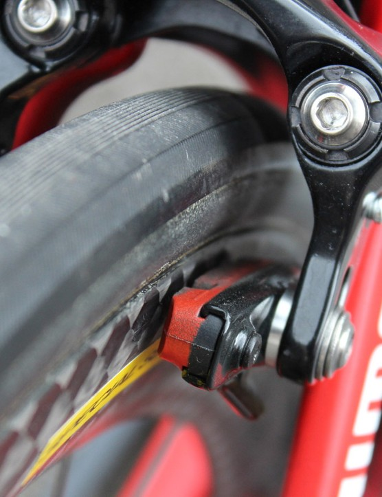 Katusha's mechanic declined to name the unmarked brake pads