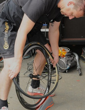 Who knew a turbo trainer front wheel riser block had an ingenious alternative use?