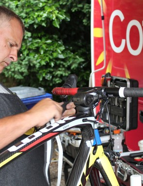 Race bikes and spare bikes alike are overhauled before the Tour starts