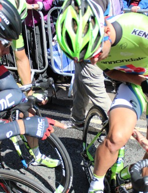 Daniel Oss of BMC admires the new paintjob at the start of the Tour de France