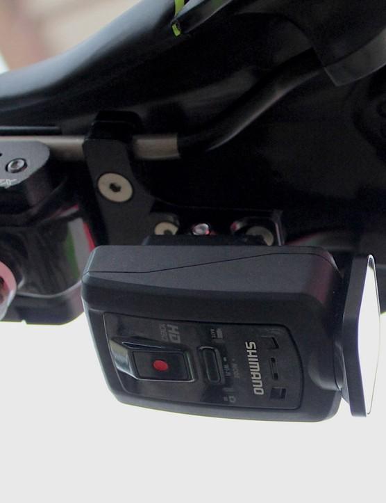 The Shimano camera has a smaller-profile body than the Garmin Virb