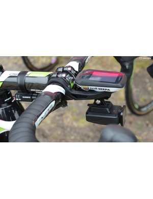 With the Shimano Di2 junction box, Garmin Edge 510 and Shimano CM-1000 camera each mounted on the cockpit, there's a lot of hardware hanging up front