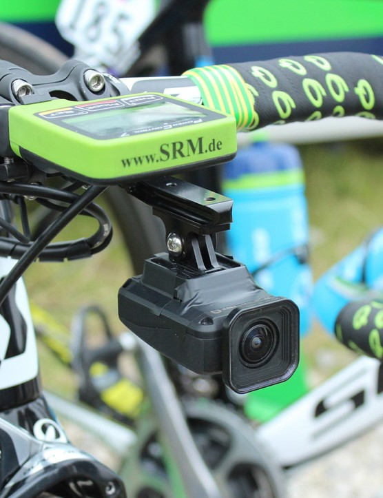 Orica-GreenEdge mechanics taped down this Shimano camera