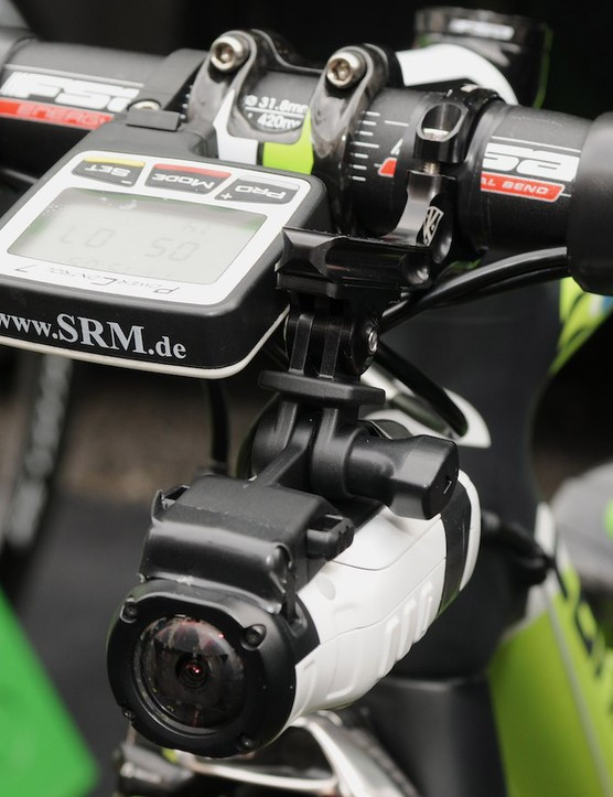 Garmin Virb and K-Edge mount looking forward from Marco Marcato's bike