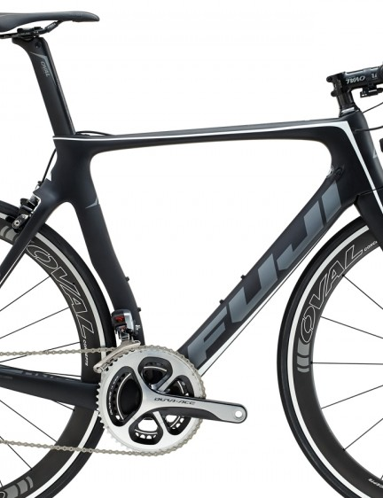 The Fuji Transonic 1.1 offers a full Shimano Dura-ace Di2 groupset, Oval 950F carbon/alloy wheels and an Oval carbon cockpit - US$6,299/€5,999/£4800
