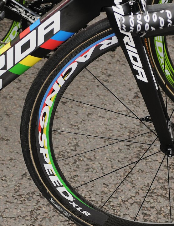 As befits the world champion, rainbow coloured wheels complete the KOM