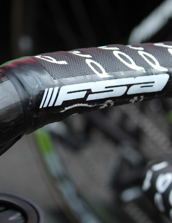 FSA wants more visibilty for its brand, but logo stickers over the top of the handlebar tape aren't exactly ideal for riders