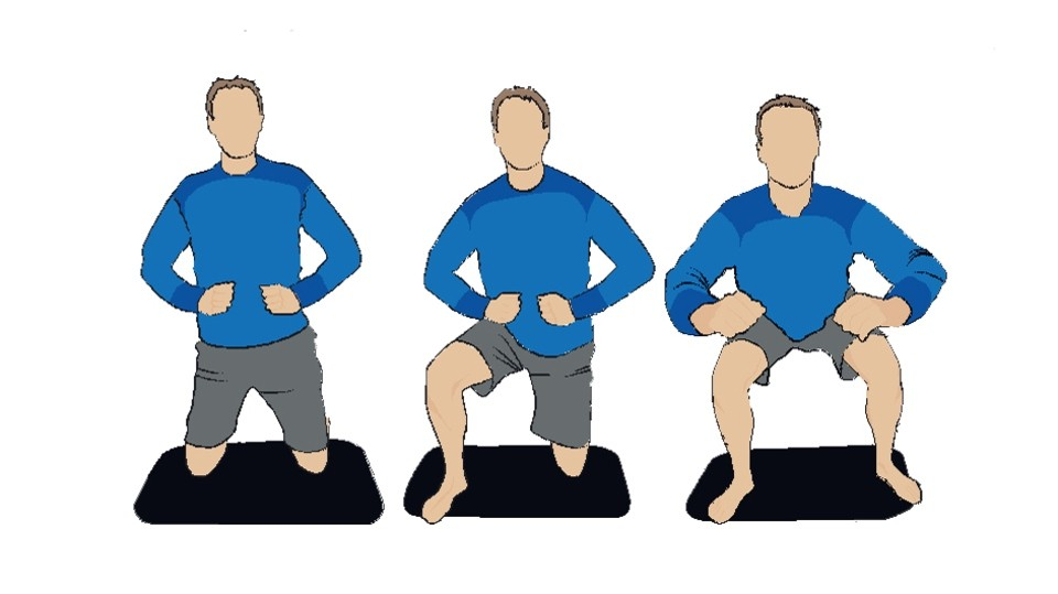 The wrestler squat will develop leg strength and endurance as well as being tough on your core