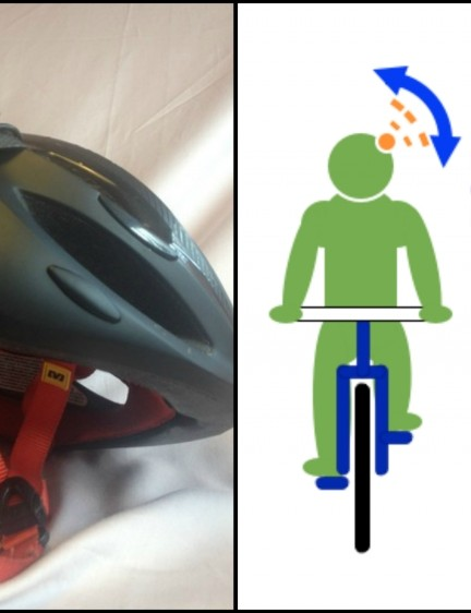 The prototype device, which fixes to your cycle helmet, and how you operate the gadget using your head movements