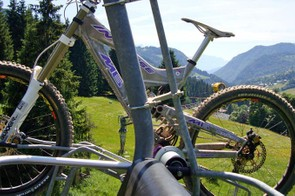 Be careful when you attach your bike to the chair lift