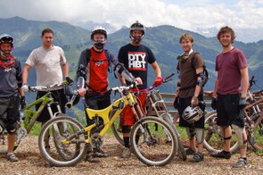 A typical backdrop for a group shot in the Alps