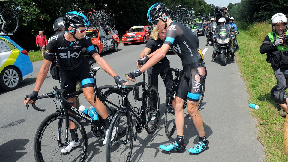 Chris Froome (Sky) crashed during both stage 4 and stage 5 and has now abandoned the Tour de France