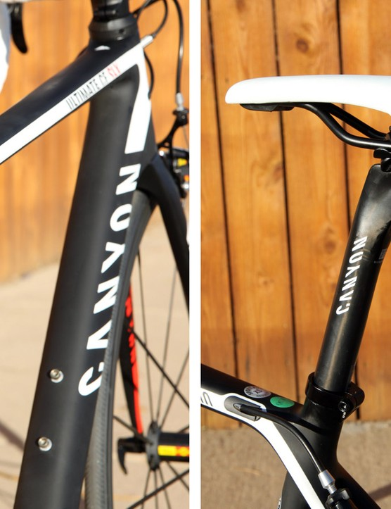 There's little radical shaping to be found anywhere on the Canyon Ultimate CF SLX frameset. The included VLCS seatpost yields a remarkable amount of flex over bumps