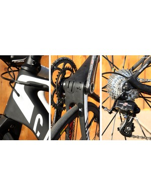 The internal cable routing setup is clean and relatively easy to service but it isn't convertible between mechanical and electronic drivetrains