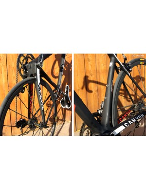 The broad chainstays and very wide seat tube contribute to the ultra-stout rear end
