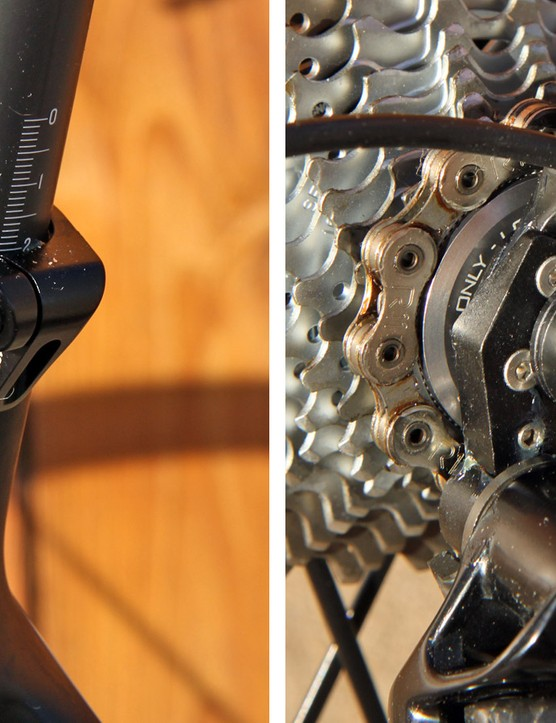 It's the small things: the seatpost collar shields the slot from road spray while the rear derailleur hanger's sandwich-type construction provides an unusually rigid foundation for the derailleur itself
