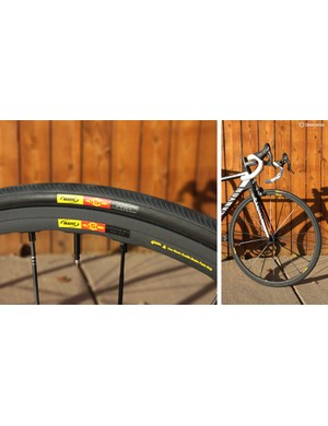 The stock Mavic Ksyrium SLR wheels and matching Mavic Yksion Pro tires ride well despite their very narrow widths. The Exalith 2 sidewall treatment yields perhaps the best braking characteristics of any rim we've tried