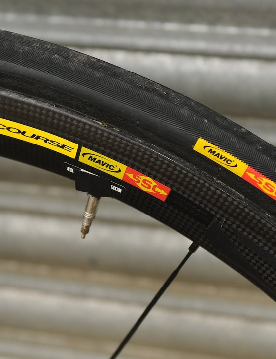 Mavic's SSC 40C rims are wider than most of the French company's line up, and here have some duck tape to prevent valve rattle, and Mavic's Yksion Grip Link tubulars…