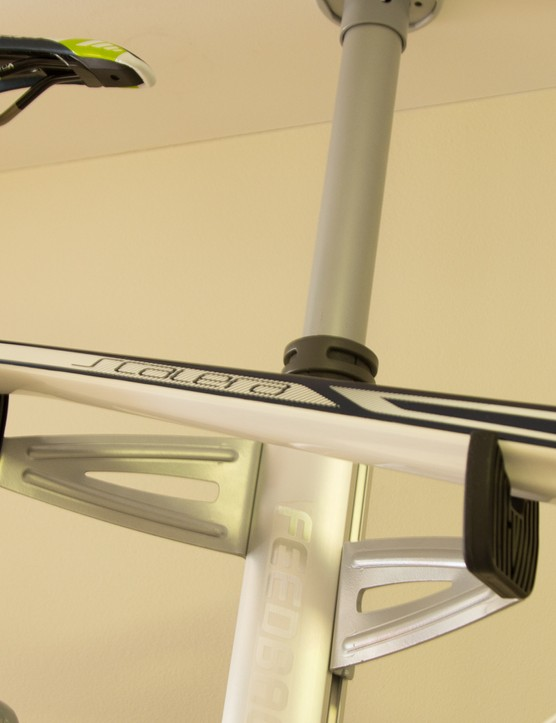 The Feedback Sports Velo Column neatly and gently holds two bikes off the floor