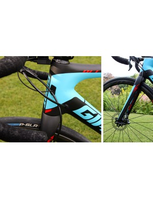 Up front is Giant's OverDrive 2 1 1/4-to-1 1/2in tapered steerer tube. The front disc brake hose is routed up the back of the fork blade