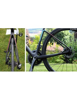 Note how the non-driveside seat stay is bowed out to allow tool access to the disc brake caliper. The chain stays don't appear incredibly tall in profile but they're quite wide and very noticeably stout under power. Chainstay length is 420mm