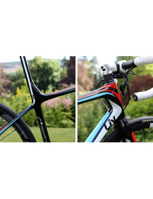 The seat cluster of the Liv Avail Advanced SL gets very different shaping from the Giant Defy Advanced SL but the front end uses the same OverDrive 2 1 1/4-to-1 1/2in tapered steerer