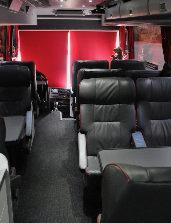 11 plush leather seats and a fold-down seat up front next to the driver cater for nine riders, manager, directeur sportif and the PR manager