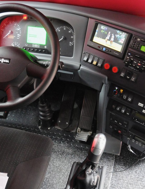 Driver Rompion's workplace for many thousands of miles per year has a TV screen that will show the chosen TV output until a gear is selected, when it reverts to showing Sat Nav directions or the reversing camera view