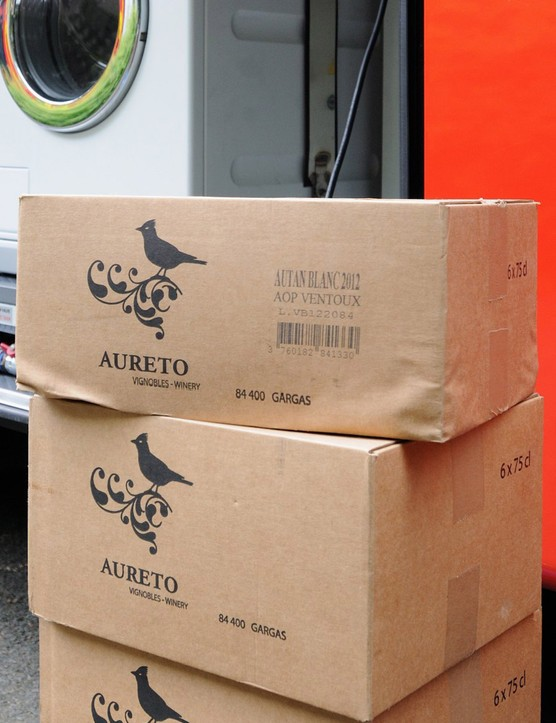 Cases of wine from Andy Rihs' Provence vineyard to restock the wine fridge ready for special occasions
