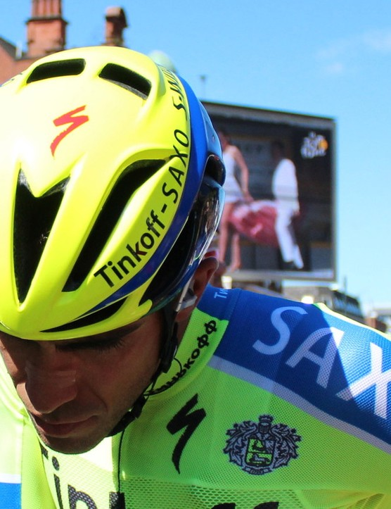 The Specialized Evade, shown here on Alberto Contador, is relatively narrow side to side, but long in the back and heavier than a standard road helmet