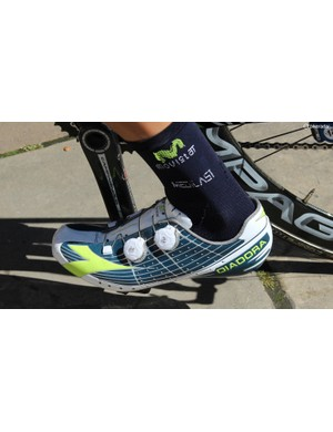 This is a Diadora Vortex-Pro Movistar Limited Edition shoe
