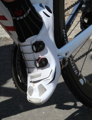 Frank Schleck has what look to be roughly modified Bontrager shoes. Bontrager declined to comment on them