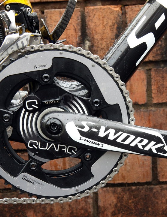 Modern power meters, such as this one from Quarq, are small, light, accurate, precise, and generally quite reliable