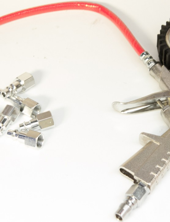The Prestaflator includes a handful of compressor attachments to fit just about all common hose configurations