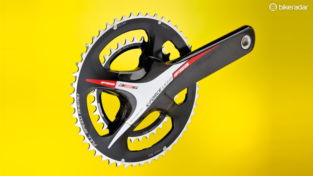 The FSA K-Force Light's chainrings are compatible with 10- and 11-speed Shimano/SRAM chains. Campagnolo 11-speed is also an option