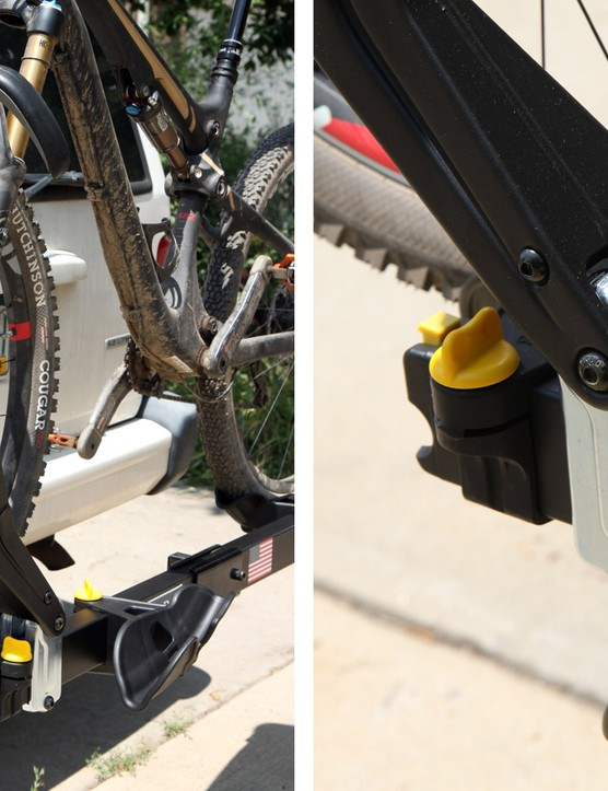 The ratcheting arms pivot out from the base and lock in place