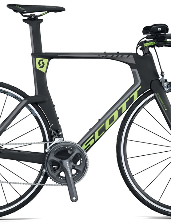 The Plasma 10 is the top version of the Plasma 4 range, with Shimano Ultegra kit and Race 27 Aero Profile wheels and RP2.0 TRI saddle from Scott's in house component arm Syncros. Its claimed weight 8.7kg